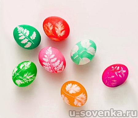 Красим яйца на Пасху: узоры зеленью и листьями