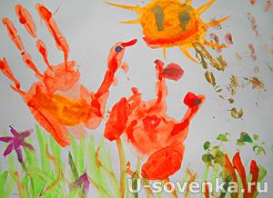 уроки рисования для детей рисунки отпечатками