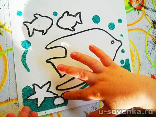 как рисовать цветным песком
